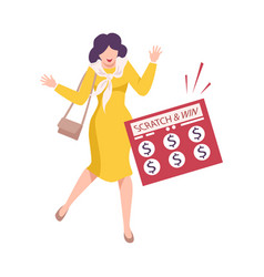 happy woman celebrating winning money in vector image