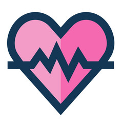 Heartbeat medical icon filled line blue pink color vector