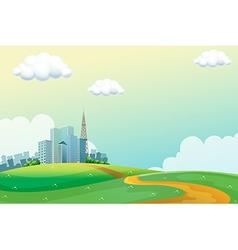 Hills across the tall buildings vector