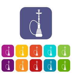 hookah icons set vector image