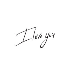 I love you lettering elegant hand drawn vector