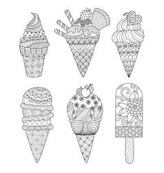 ice cream coloring book vector image