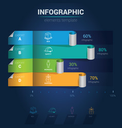 infographic elements - curled bar chart vector image