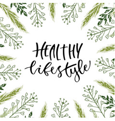 inspirational calligraphy healthy lifestyle vector image