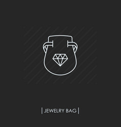 Jewelry bag outline icon isolated vector