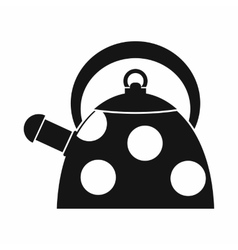 Kettle with white dots icon simple style vector image
