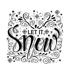 let it snow christmas retro poster with hand lett vector image
