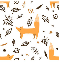 lovely seamless pattern with cute foxes and autumn vector image