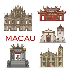 macau landmark buildings temples architecture vector image