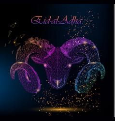 Muslim holiday eid al-adha polygonal ram vector