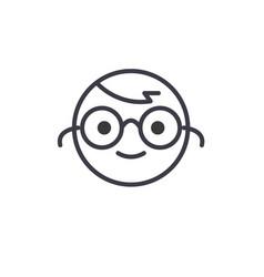 nerdy emoji concept line editable concept vector image