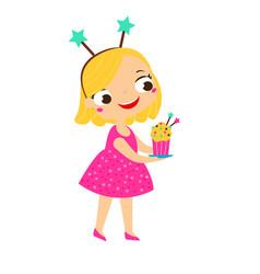 party kid girl with birthday cake cartoon happy vector image
