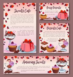 Pastry design templates set of dessert cakes vector