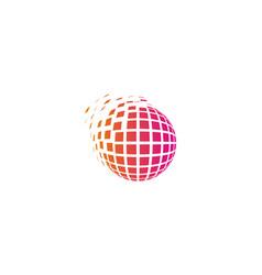 Pixel globe logo icon design vector
