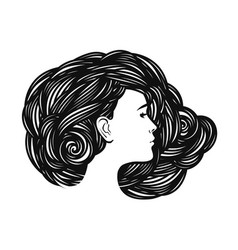 Portrait of beautiful girl young woman with long vector
