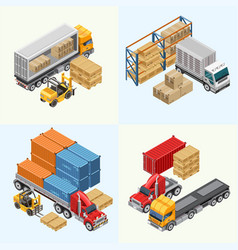 Process of loading freight trucks vector