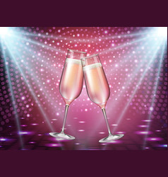 Realistic of champagne glasses on pink background vector
