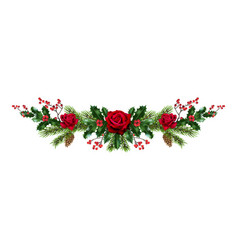 roses and pine decor vector image