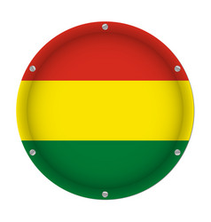 round metallic flag of bolivia with screws vector image