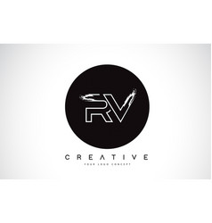 Rv modern leter logo design with black and white vector