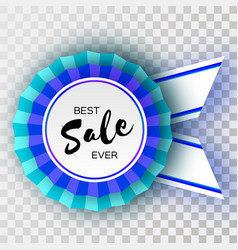 sale blue ribbon banner in paper cut style vector image