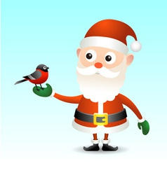 Santa Claus with bullfinch vector image