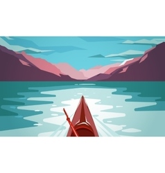Sea kayaking at norway fjord fun outdoor journey vector