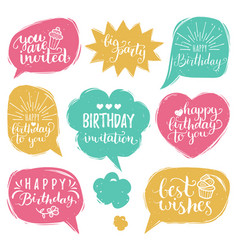 set of comic speech bubbles with happy vector image