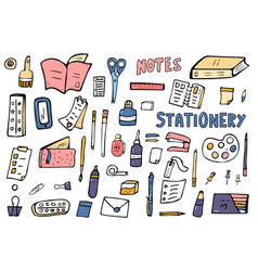 set of doodle stationery office supplies vector image