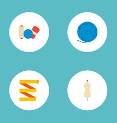 set of handmade icons flat style symbols with yarn vector image