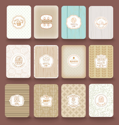Set of retro bakery labels ribbons and cards vector