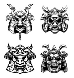 set of samurai masks and helmets design element vector image