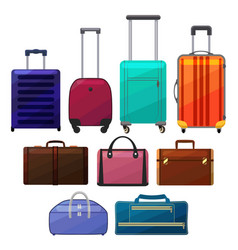 set of suitcases in cartoon style vector image
