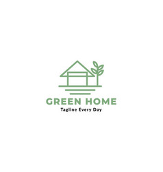 Simple home or house with tree line minimalist vector