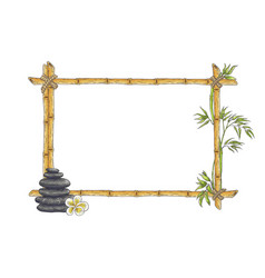 sketch bamboo frame with zen pebble vector image