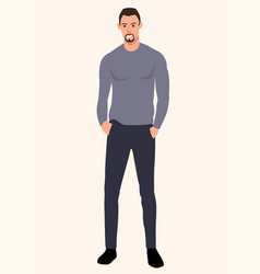 Skinny tall guy wearing sweater vector