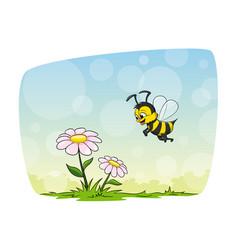 Small honeybee flies to a flower vector