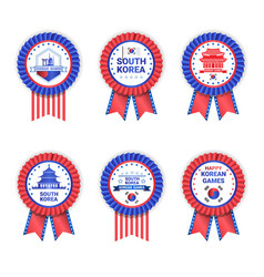 south korea games medals set template isolated on vector image