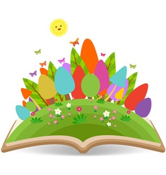 Spring with grass garden in the book vector image