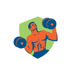 Strongman Crossfit Lifting Dumbbells Shield Retro vector