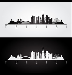 tbilisi skyline and landmarks silhouette vector image