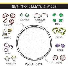 Template doodle set ingredient to build pizza vector image