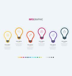 timeline infographic design 6 steps bulbs vector image