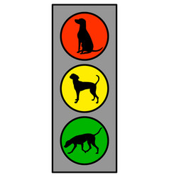 Traffic light with dog on white vector
