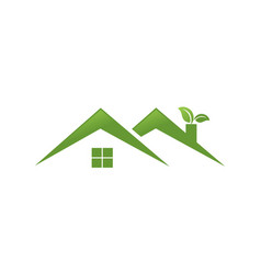twin green home with leaf logo vector image