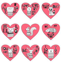 valentines day hearts with doodle animals vector image