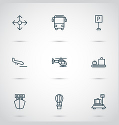vehicle icons set with air balloon luggage vector image