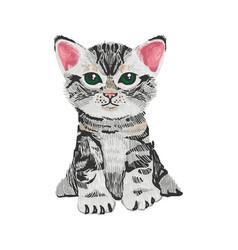 Very cute small cat kitten vector