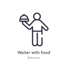 Waiter with food tray outline icon isolated line vector