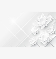 white abstract flowers asian pattern background vector image